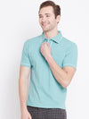 Men Blue Solid Casual Polo T-shirts - JUMP USA