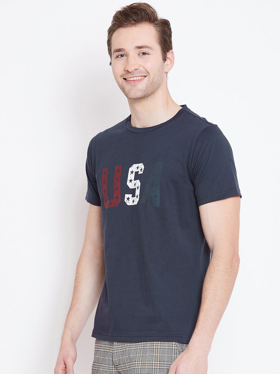Men Navy Blue Printed Casual T-shirt