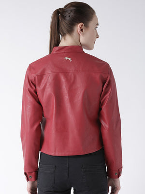 Women's Casual Long Sleeve  Red Winter Jacket - Jump USA