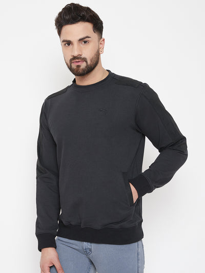 JUMP USA Men Black Solid Pullover Sweatshirt - JUMP USA