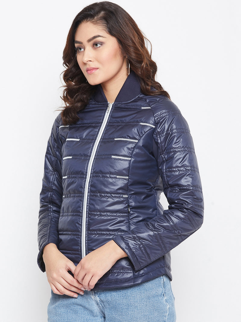 JUMP USA Women Blue Solid Padded Jacket - JUMP USA