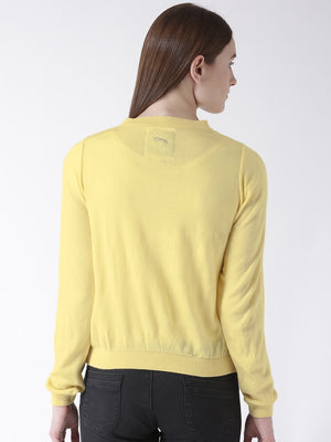Women Cotton Casual Long Sleeve  Yellow Winter Sweaters - Jump USA