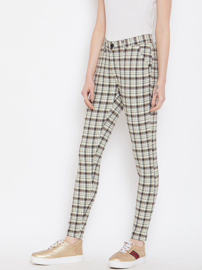 Women Grey Checked Casual Trousers