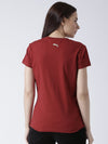 Women Red Solid Round Neck T-shirt - JUMP USA