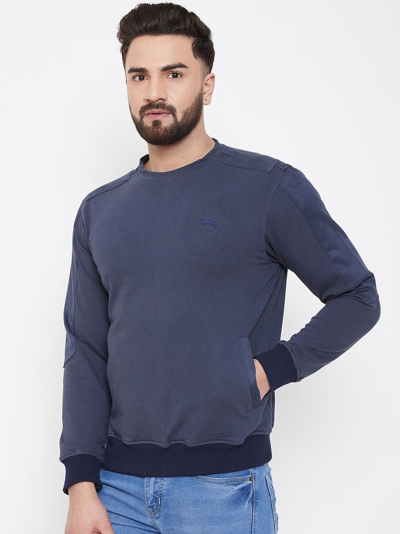 JUMP USA Men Navy Blue Solid Sweatshirt