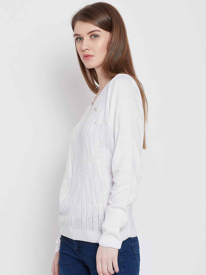 Women White Casual Sweaters