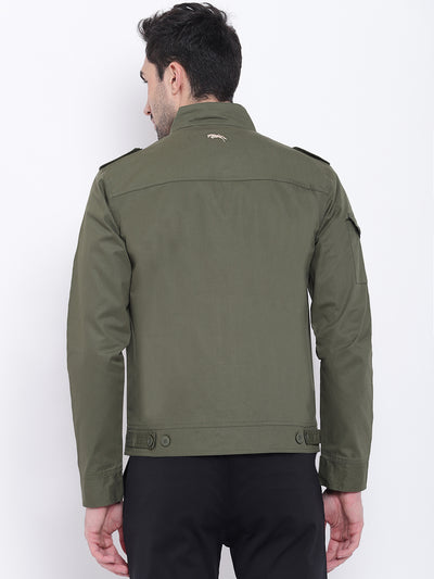 Men Casual Solid Olive Tailored Jacket - JUMP USA