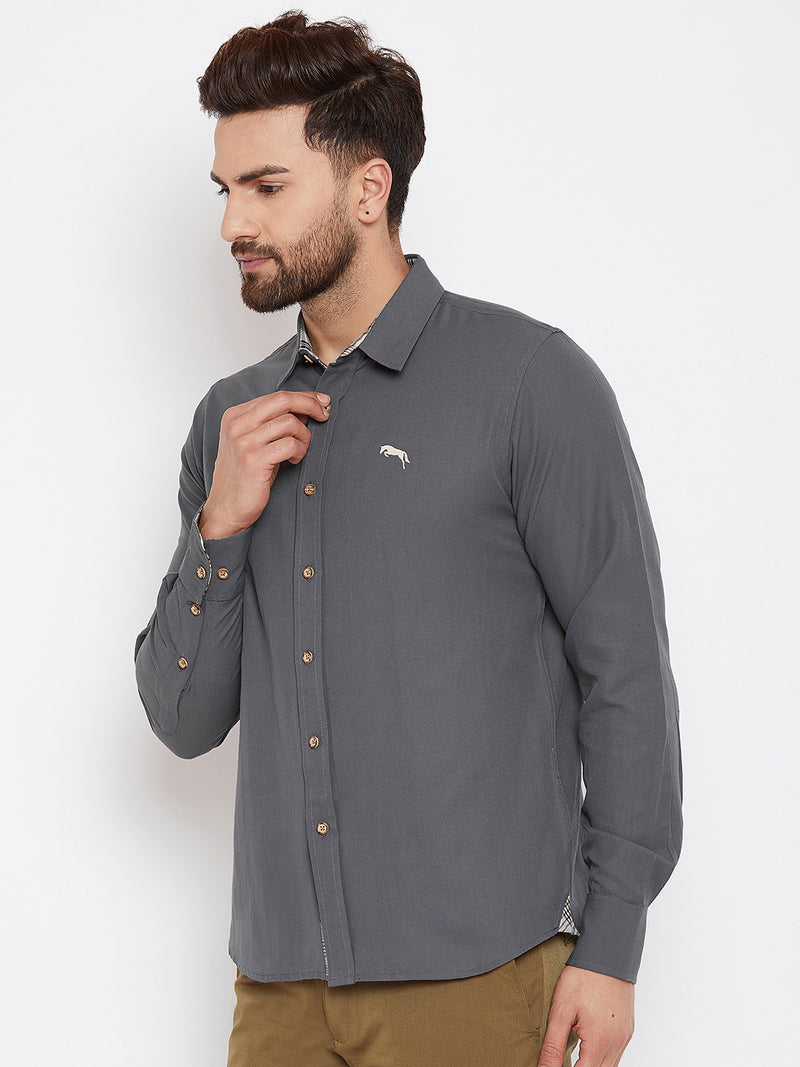 JUMP USA Men Grey Regular Fit Solid Casual Shirt - JUMP USA