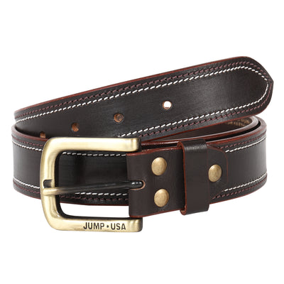 Men Leather Brown Belts With Metal Buckle - JUMP USA