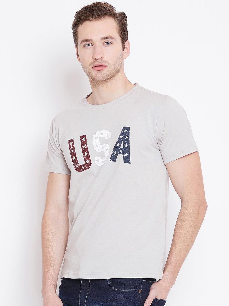 Men Grey Printed Casual T-shirt