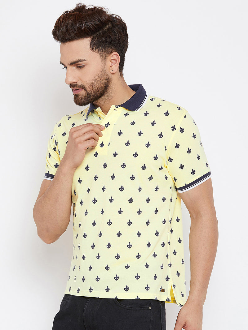 JUMP USA Men Yellow Printed Polo Collar T-Shirt