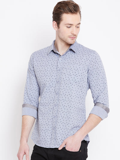 JUMP USA Men White Printed Casual Slim Fit Shirts_2