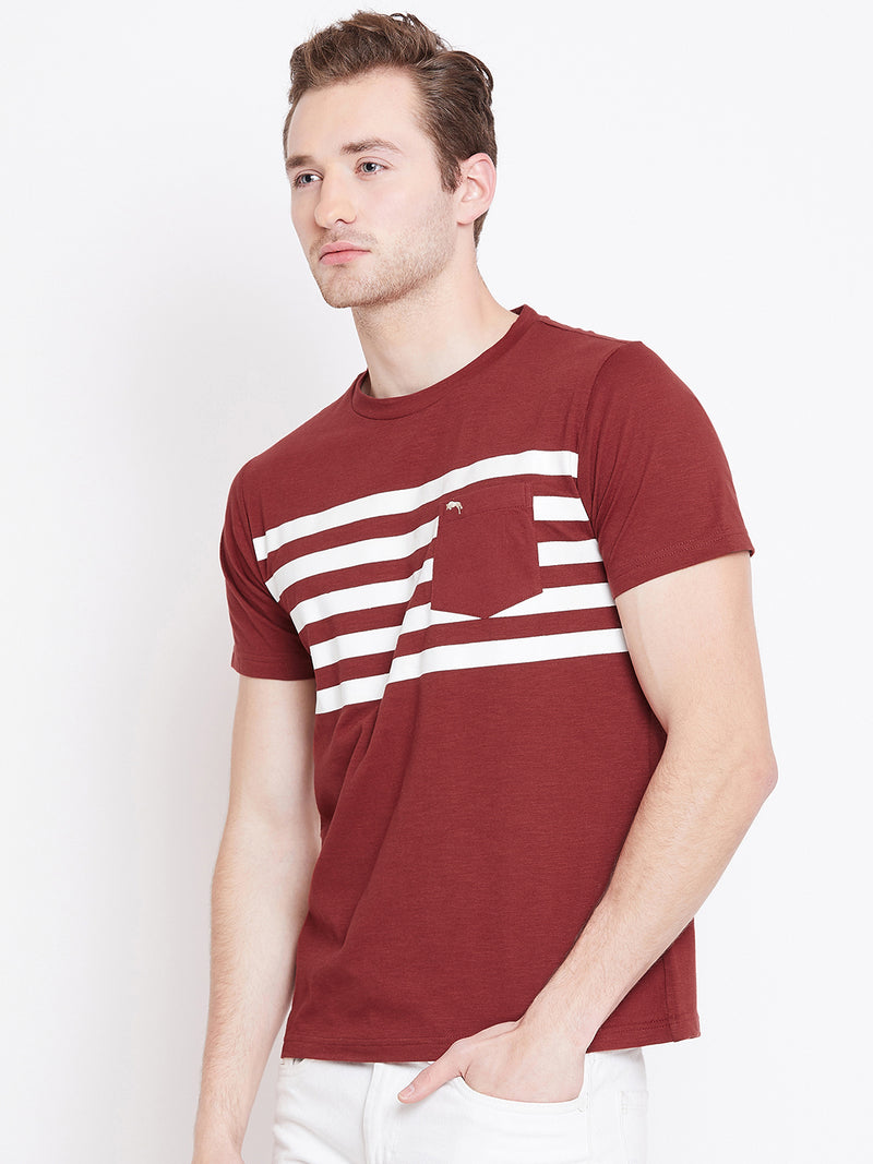 Men Red Striped Casual T-shirt