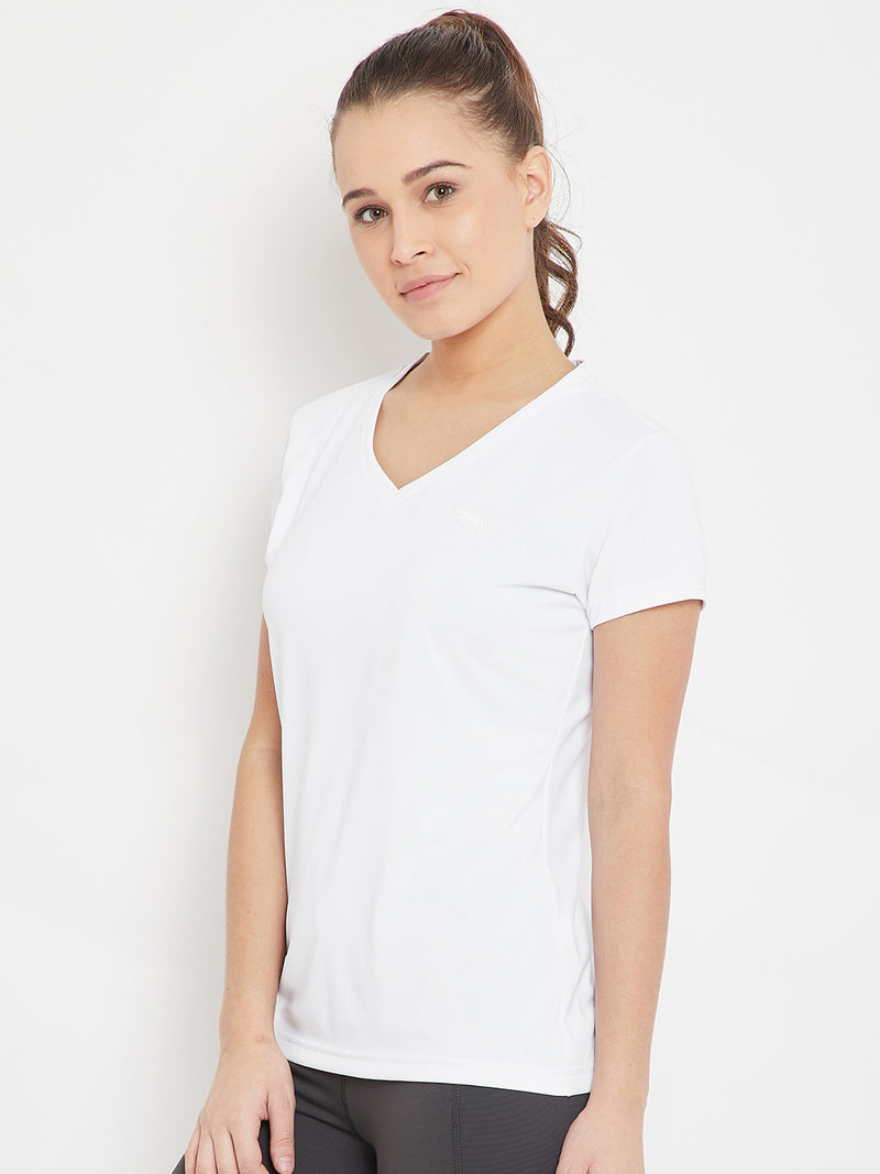 Women White Sports T-shirt