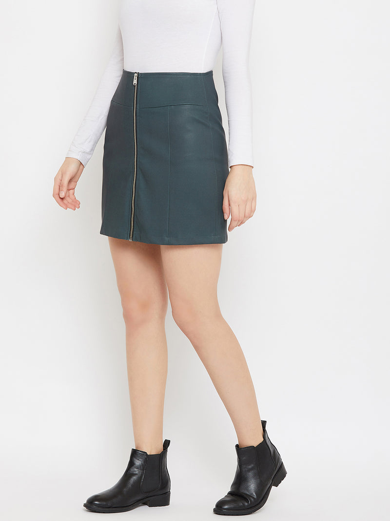 JUMP USA Women Olive Solid Mini Pencil Skirt
