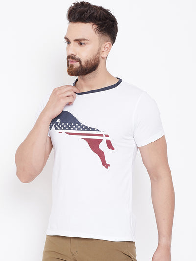 JUMP USA Men Casual Printed Blue Round Neck T-shirt - JUMP USA