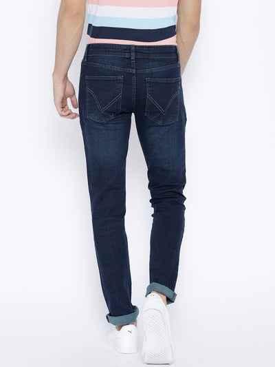Men Navy Blue Slim Fit Mid-Rise Clean Look Stretchable Jeans - JUMP USA