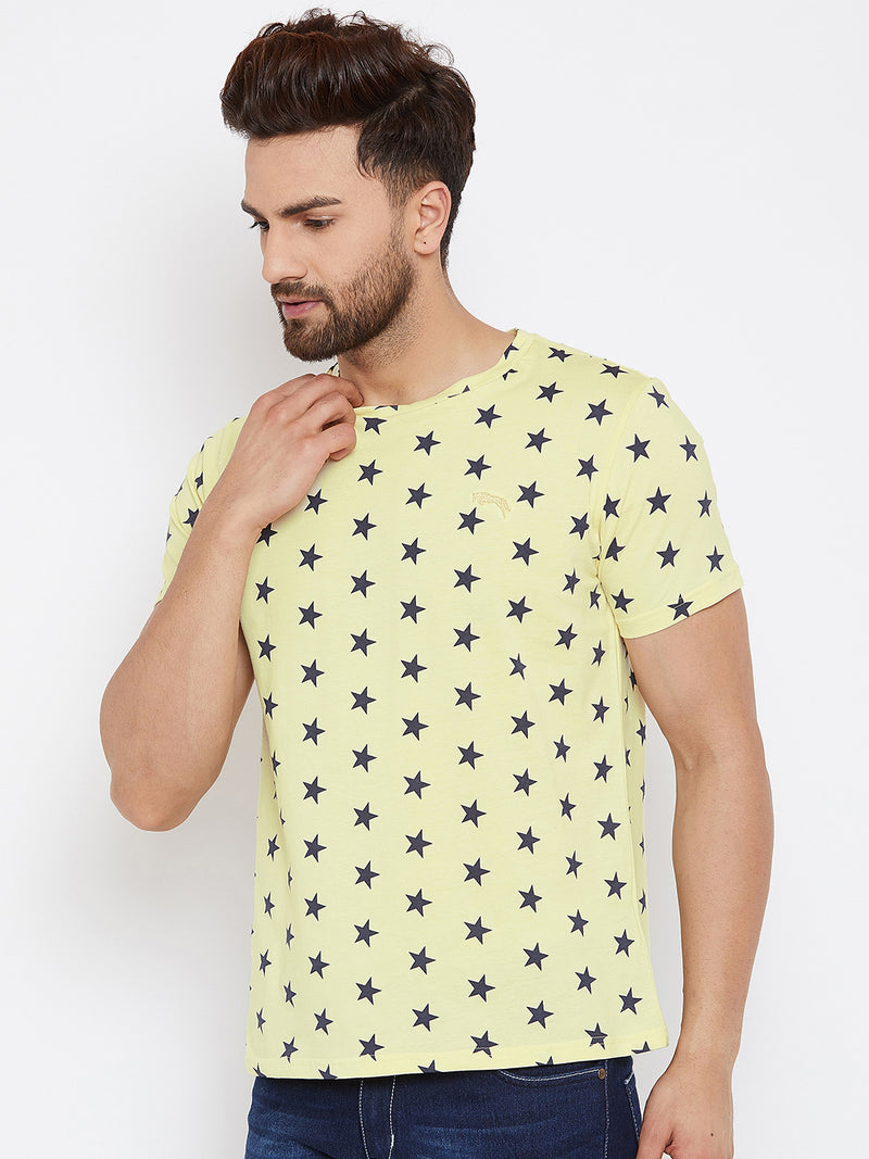 JUMP USA Men Yellow Printed Round Neck T-Shirt