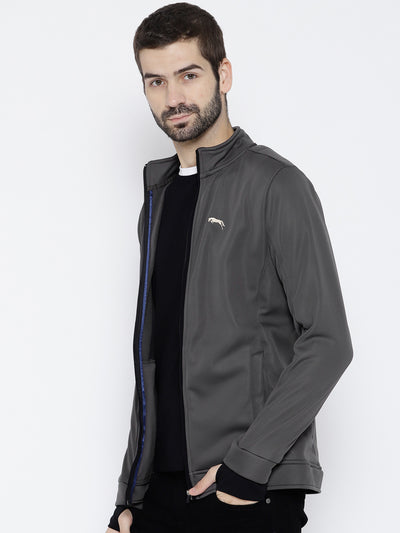 Men Charcoal Solid Open Front Jacket - JUMP USA