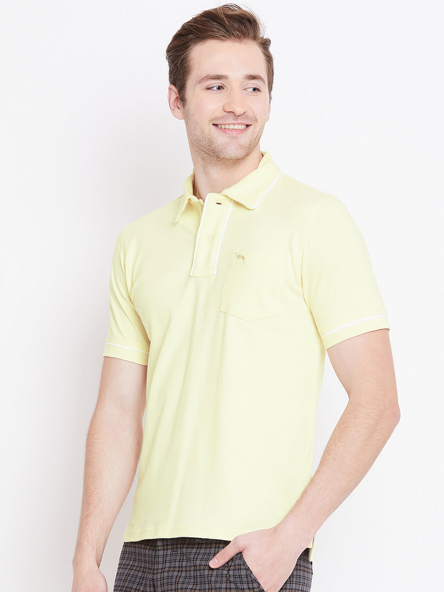 JUMP USA Men Yellow Solid Casual Polo T-shirts_1