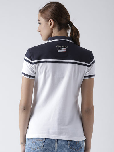 Women White Casual Polo Collar T-Shirt - JUMP USA