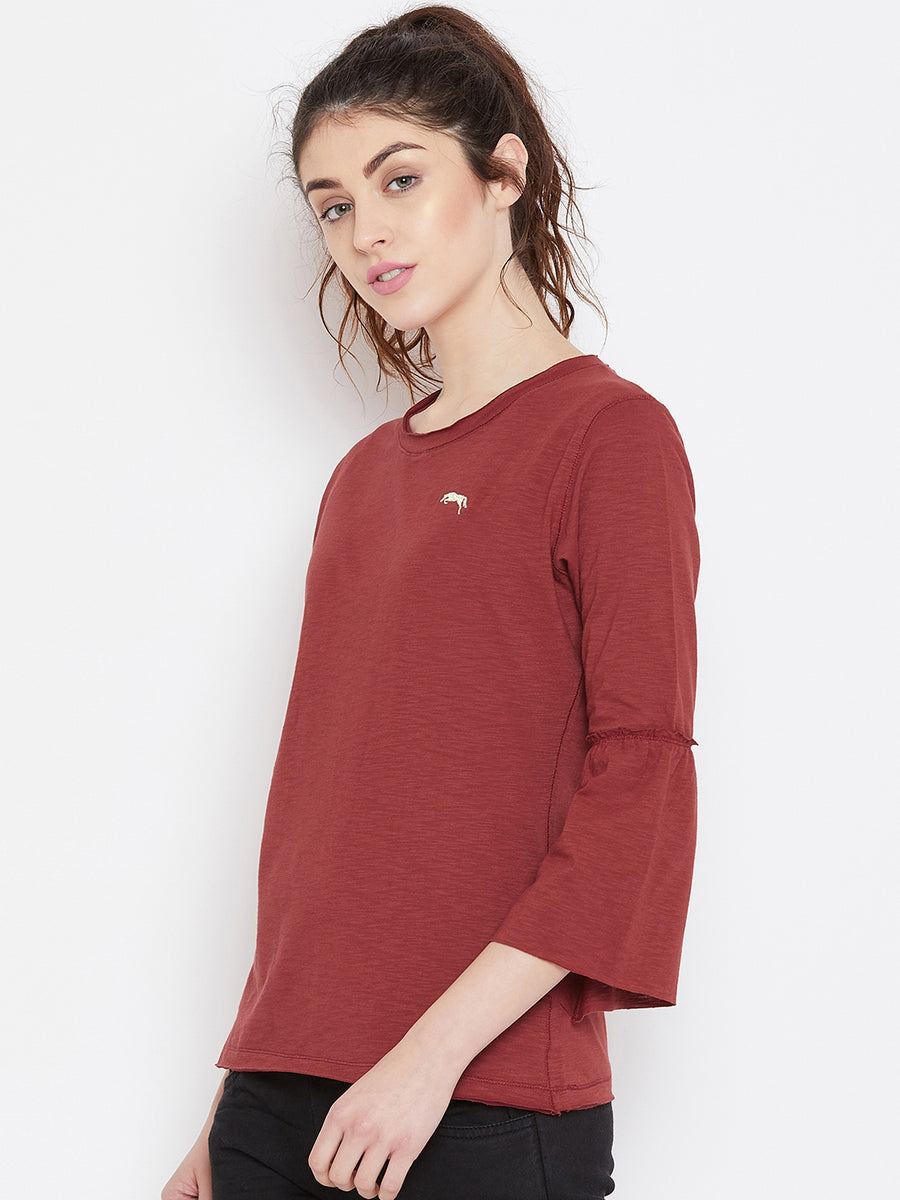 JUMP USA Women Red Solid Casual Tops_1