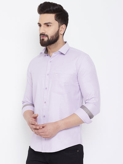 JUMP USA Men Lavender Cotton Casual Shirts - JUMP USA