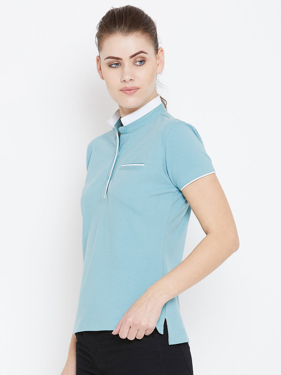 JUMP USA Women Blue Solid Casual Polo T-shirts_1
