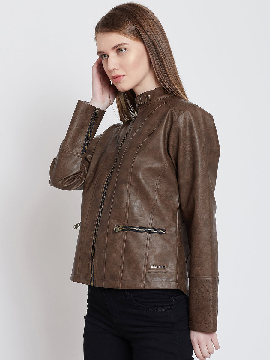 JUMP USA Women Casual Brown Leather Jacket_1