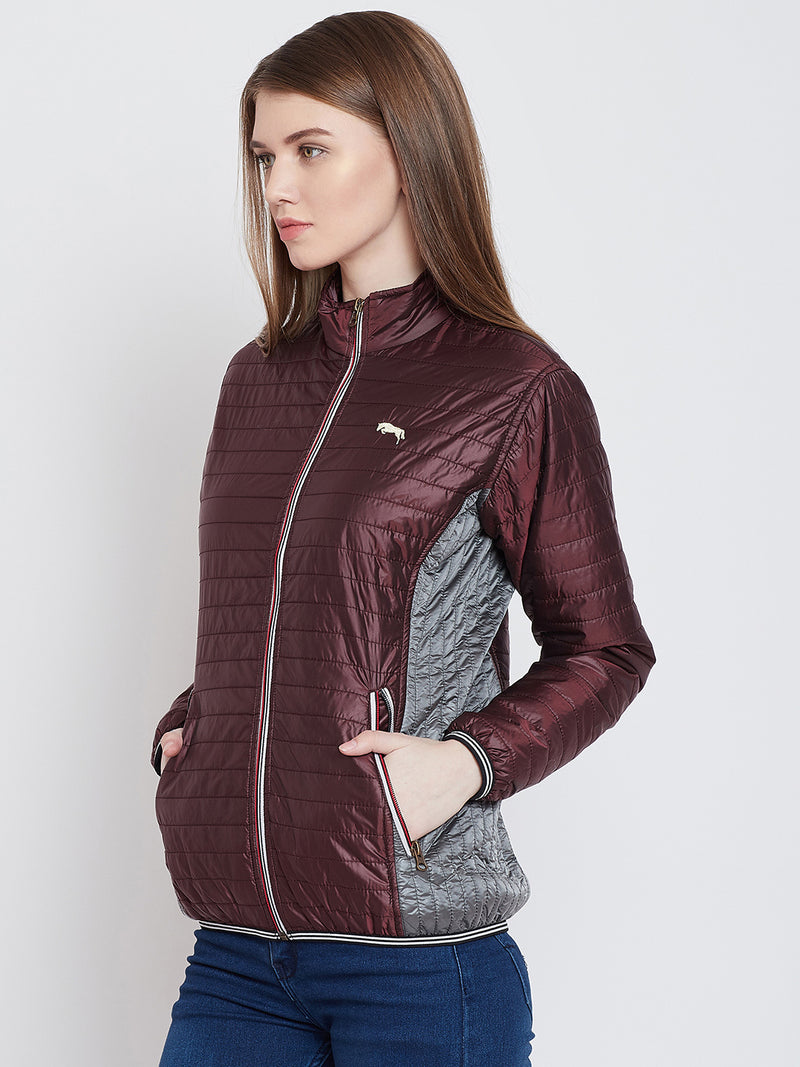 Women Casual Maroon Quilted Jacket - JUMP USA
