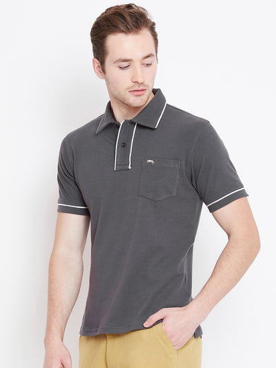 Men Charcoal Solid Casual Polo T-shirts - JUMP USA