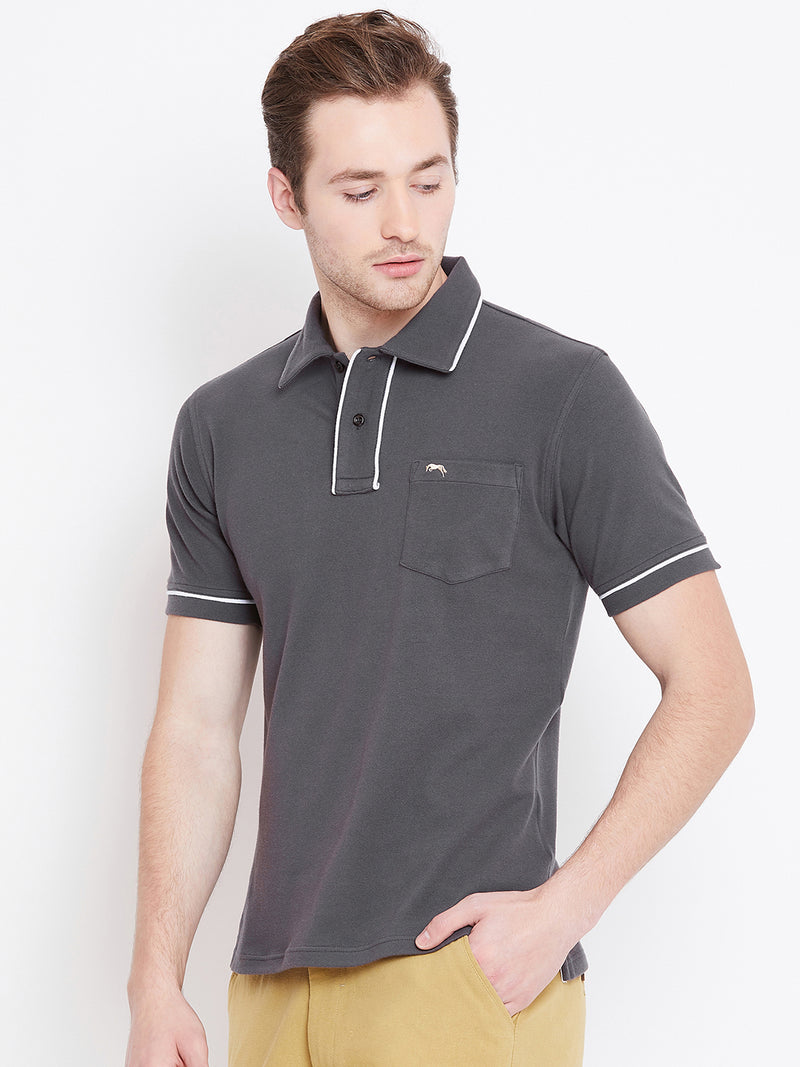 Men Charcoal Solid Casual Polo T-shirts