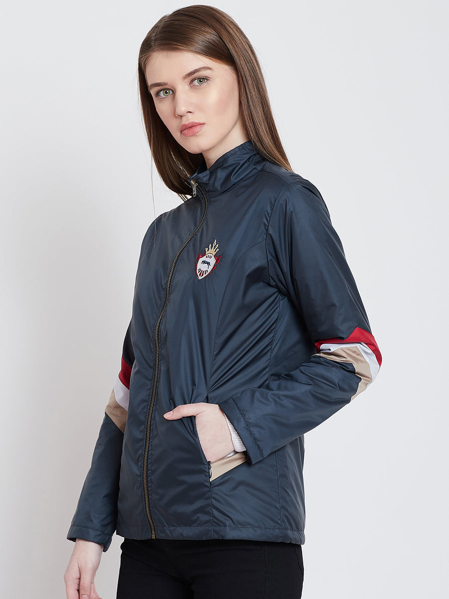 JUMP USA Women Casual Navy Blue Sporty Jacket_1