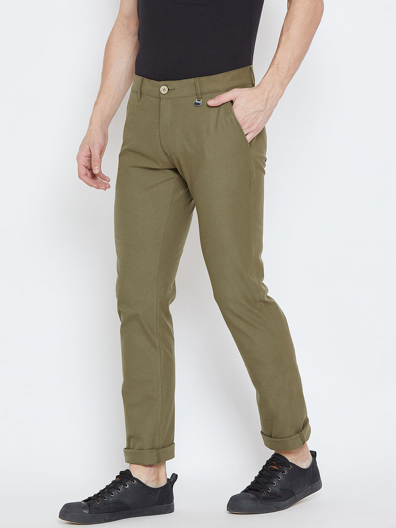 Men Olive Casual Trousers