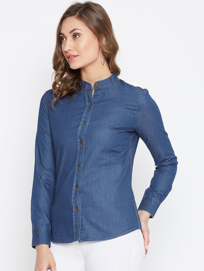 JUMP USA Women Regular Fit Blue Casual Denim Shirt - JUMP USA
