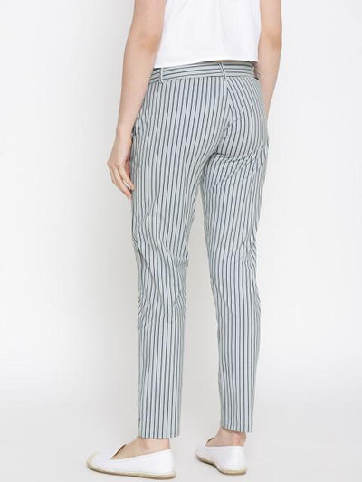 Women Striped White Trousers - JUMP USA