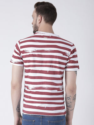 JUMP USA Men White Striped Round Neck T-shirt - Jump USA