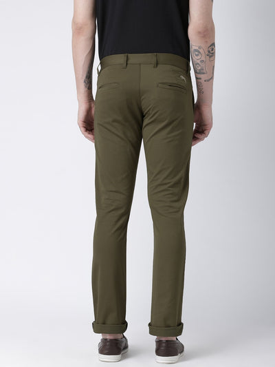 Men Olive Slim Fit Solid Chinos - JUMP USA