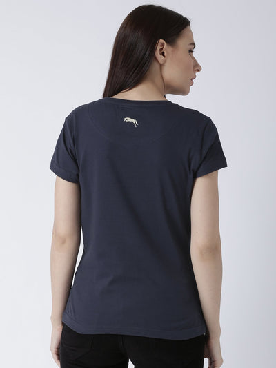 Women Navy Blue Solid Round Neck T-shirt - JUMP USA