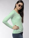 Women Self Design Teal Pullover - JUMP USA