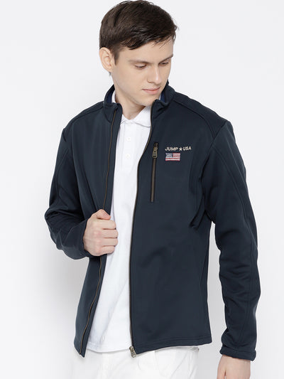 Men Navy Blue Solid Jacket - JUMP USA