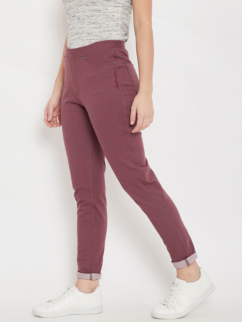 Women Casual Maroon Tights - JUMP USA