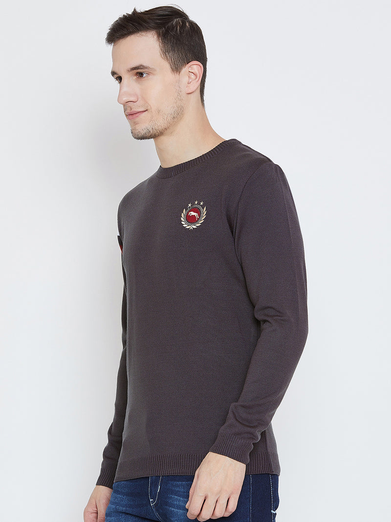 Men Charcoal Casual Sweaters