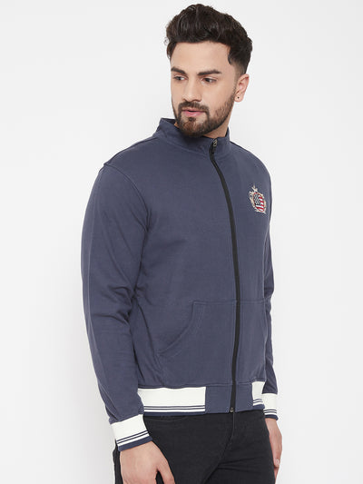JUMP USA Men Navy Blue Solid Bomber Jacket - JUMP USA