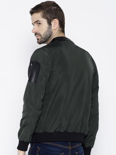 Men Green Solid Open Front Jacket - JUMP USA
