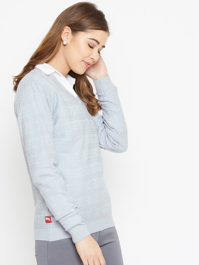 JUMP USA Women Blue Self Design Sweater - JUMP USA