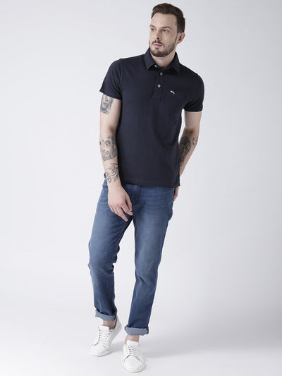 Men Navy Blue Solid Polo T-shirt - JUMP USA