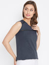 JUMP USA Women Navy Blue Solid Regular Top - JUMP USA
