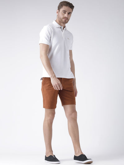 Casual Men Solid Slim Fit Rust Chino Shorts - JUMP USA