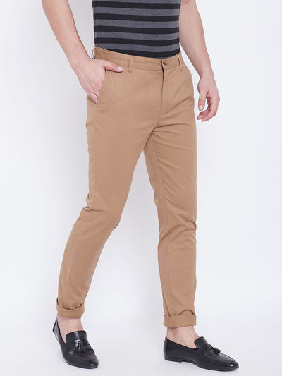 JUMP USA Men Brown Casual Slim Fit Trousers - JUMP USA